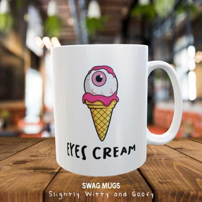 white mug with ice cream logo